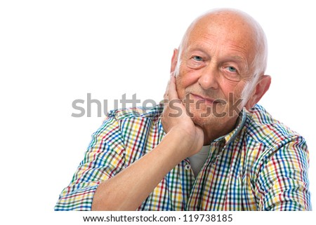 Portrait of a happy senior man smiling isolated on white - stock photo