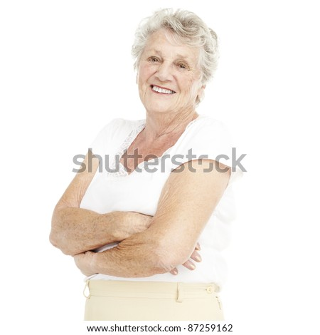 portrait of a happy senior woman smiling over white background - stock photo