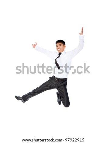 Portrait of a happy smile asian businessman jumping in air isolated over white background - stock photo