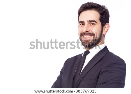 Portrait of a happy smiling business man, isolated on white background