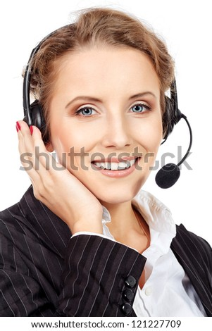 Portrait of a happy smiling  support phone operator in headset. Isolated over white. - stock photo