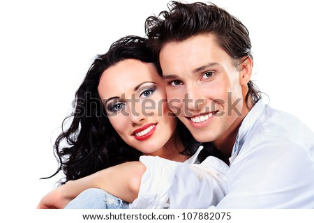 Portrait of a happy smiling young people. Isolated over white background. - stock photo
