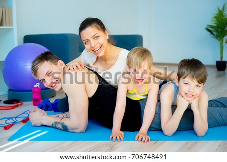 Portrait of a happy sporty family