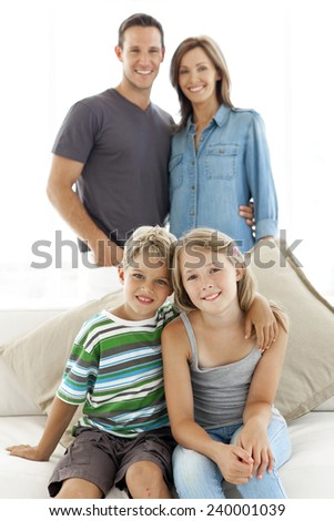 Portrait of a happy standard Caucasian family