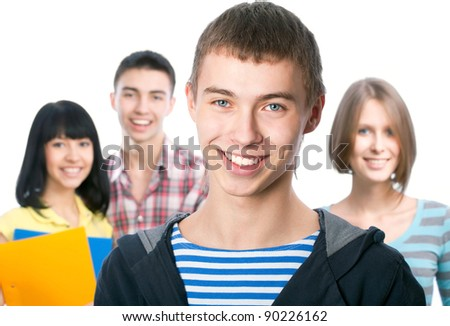 Portrait of a happy student and his friends
