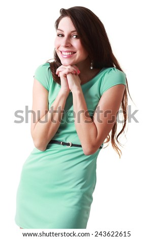 Portrait of a happy surprised woman with hands over her mouth laughing against white background - stock photo