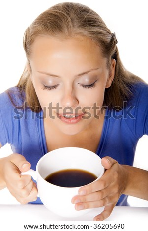 portrait of a happy woman holding a coffee cup