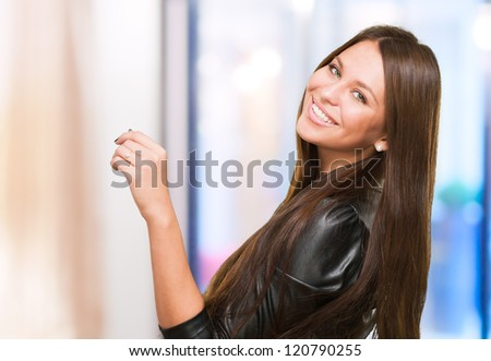 Portrait Of A Happy Woman, indoor - stock photo
