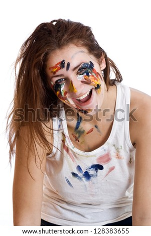 Portrait of a happy woman painter isolated on white background