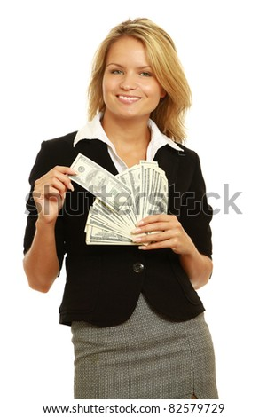 Portrait of a happy woman with a fan of American dollar