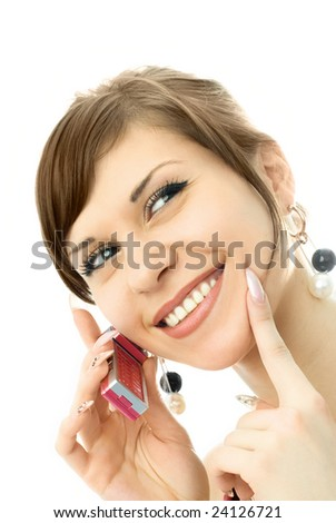 portrait of a happy young beautiful woman talking on the cellphone
