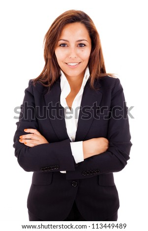 Portrait of a happy young business woman, isolated on white background