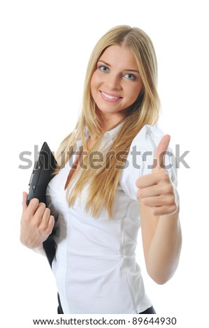 Portrait of a happy young business woman. Isolated on white background - stock photo