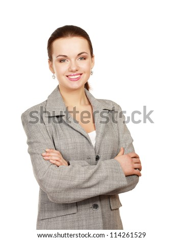 Portrait of a happy young business woman standing, isolated on white background - stock photo