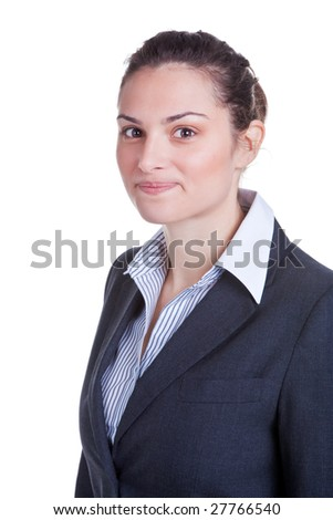 Portrait of a happy young businesswoman, isolated on white background. - stock photo