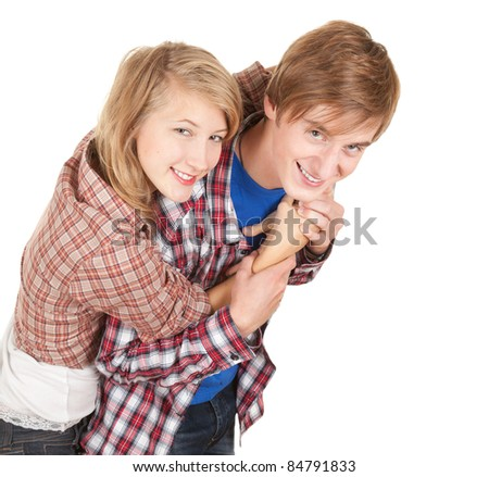 portrait of a happy young couple embracing
