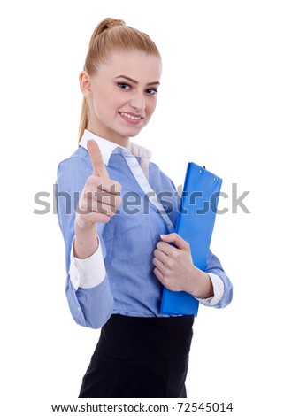 Portrait of a happy young female holding clipboard against white background - stock photo