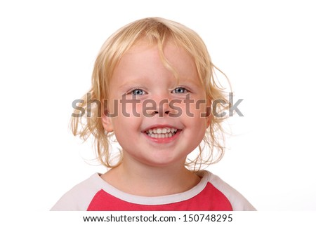 Portrait of a happy young girl on white background