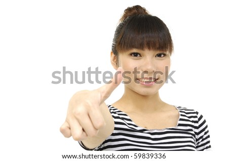 portrait of a happy young lady showing thumb's up sign