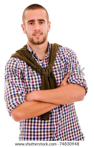 Portrait of a happy young man, isolated on white background - stock photo
