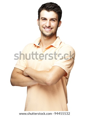 portrait of a happy young man smiling against a white background