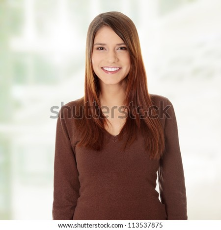 Portrait of a happy young woman. - stock photo