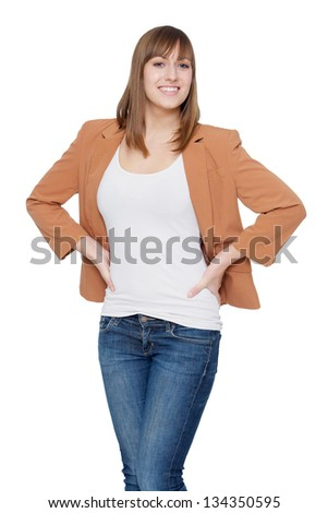 Portrait of a happy young woman - stock photo