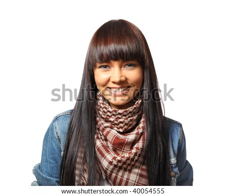 Portrait of a happy young woman smiling looking at camera. Isolated over white background. - stock photo