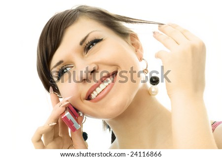portrait of a happy young woman talking on the cell-phone - stock photo