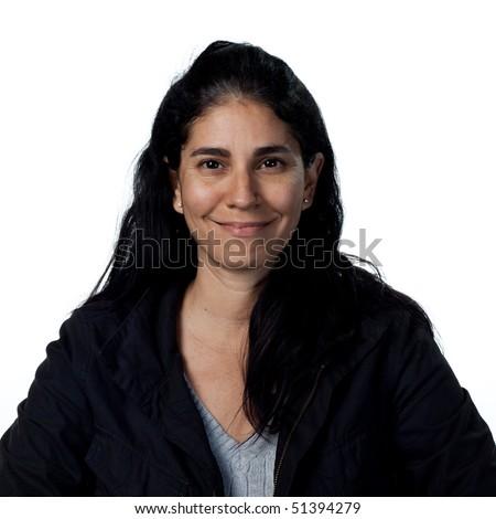 Portrait of a hispanic woman, isolated studio image - stock photo