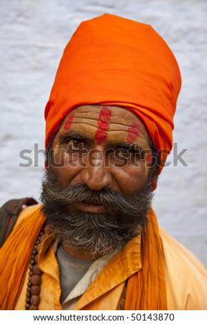 Portrait of a holy indian Sadhu. Location: Jaisalmer,Rajasthan,India - stock photo