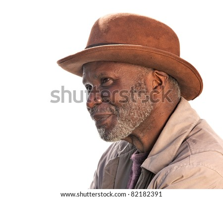 Portrait of a homeless African-American man in Southern California isolated on white. - stock photo