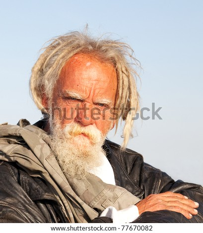 Portrait of a homeless man in Southern California - stock photo