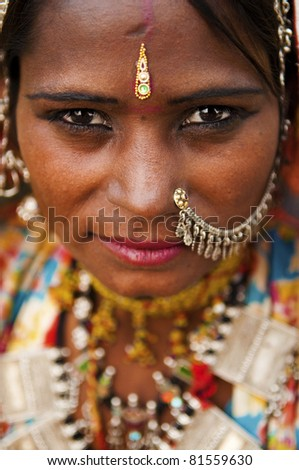 Portrait of a India Rajasthani woman - stock photo