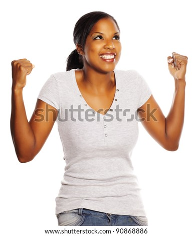 Portrait of a isolated happy young pretty black woman. - stock photo