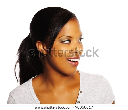 Portrait of a isolated young pretty black woman. - stock photo