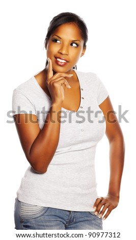 Portrait of a isolated young pretty black woman thinking. - stock photo