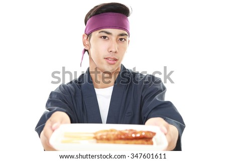 Portrait of a Japanese chef - stock photo
