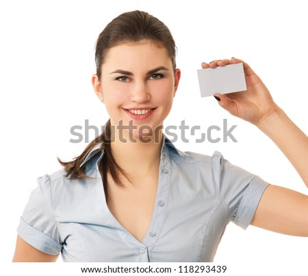Portrait of a joyful young woman showing blank business card isolated over white background - stock photo