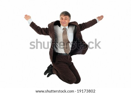 Portrait of a jumping man. Happiness. Shot in studio. - stock photo