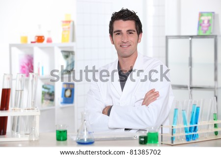 portrait of a lab assistant - stock photo
