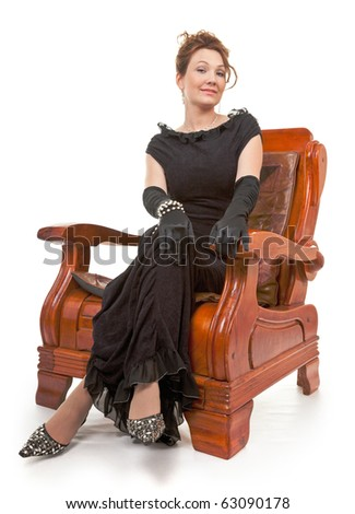 portrait of a lady in evening dress in retro style - stock photo