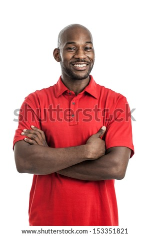Portrait of a late 20s handsome black man isolated on a white background - stock photo