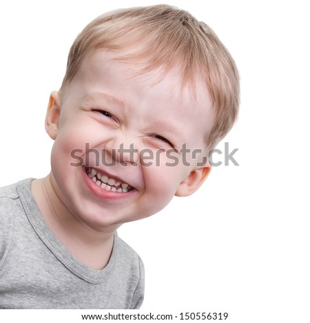 Portrait of a laughing boy isolated on white background - stock photo