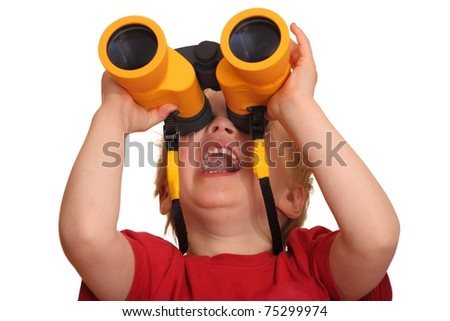 Portrait of a laughing young boy with binoculars - stock photo