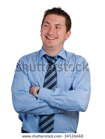 Portrait of a laughing young professional man against a white background