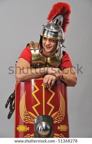 Portrait of a legionary soldier - stock photo