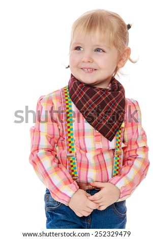 portrait of a little blonde in a cowboy suit.Isolated on white background, Lotus Children's Center.