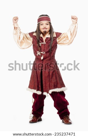 Portrait of a Little Boy in Wig in Pirate Costume - stock photo