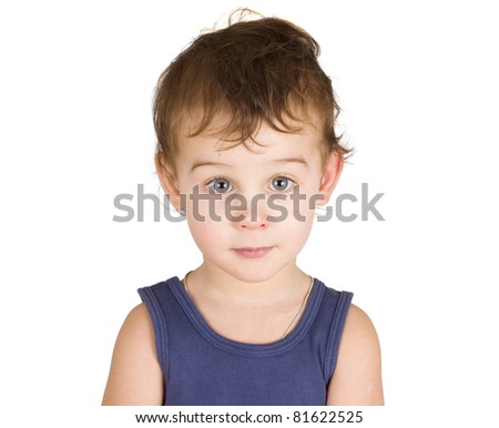 portrait of a  little boy isolated on white - stock photo